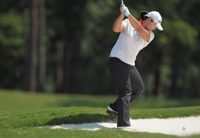 MOBILE, AL - APRIL 30:  Amy Yang of South Korea hits a bunker shot on the tenth hole during the third round of the Avnet LPGA Classic at the Crossings Course at the Robert Trent Jones Trail at Magnolia Grove on April 30, 2011 in Mobile, Alabama.  (Photo by Scott Halleran/Getty Images)
