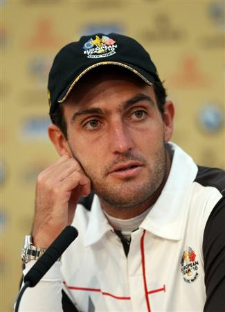 NEWPORT, WALES - SEPTEMBER 28:  Edoardo Molinarii of the Europe Team answers questions from the media at a press conference following a practice round prior to the 2010 Ryder Cup at the Celtic Manor Resort on September 28, 2010 in Newport, Wales.  (Photo by Ross Kinnaird/Getty Images)