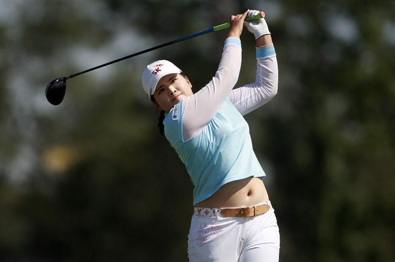 PRATTVILLE, AL - OCTOBER 2:  Inbee Park of South Korea watches her drive from the 11th tee during second round play in the Navistar LPGA Classic at the Robert Trent Jones Golf Trail at Capitol Hill on October 2, 2009 in  Prattville, Alabama.  (Photo by Dave Martin/Getty Images)