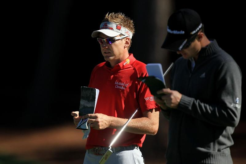 AUGUSTA, GA - APRIL 06:  Ian Poulter (L) and Justin Rose of England are seen during a practice round prior to the 2011 Masters Tournament at Augusta National Golf Club on April 6, 2011 in Augusta, Georgia.  (Photo by David Cannon/Getty Images)