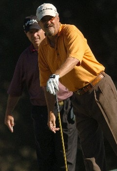 Gary Mccord follows the flight of his tee shot off the second hole during the first round of the Champions' Tour 2005 SBC Classic at  the Valencia Country Club in Valencia, California March 11, 2005.