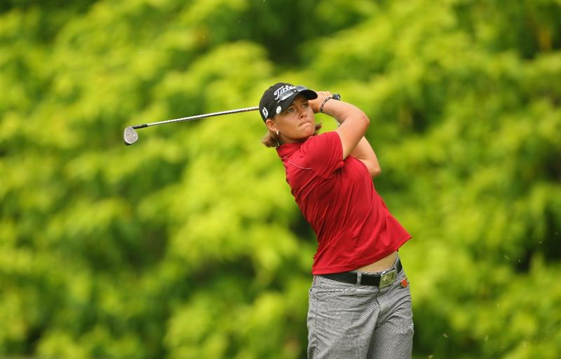 SINGAPORE - MARCH 07:  Katherine Hull of Australia hits her third shot on the fifth hole during the third round of the HSBC Women's Champions at Tanah Merah Country Club on March 7, 2009 in Singapore.  (Photo by Andrew Redington/Getty Images)