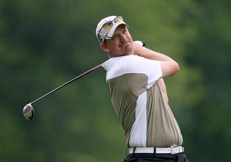 COLUMBUS, OH - JULY 30 : Tom Gillis hits his tee shot on the sixth hole during the first round of the Nationwide Children's Hospital Invitational at The Ohio State Golf Club on July 30, 2009 in Columbus, Ohio. (Photo by Hunter Martin/Getty Images)