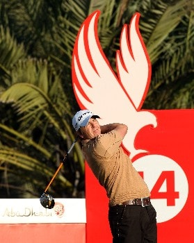 ABU DHABI, UNITED ARAB EMIRATES - JANUARY 17:  Scott Drummond of Scotland plays his tee shot at the 14th hole during the first round of the Abu Dhabi Golf Championship at the Abu Dhabi Golf Club on January 17, 2008 in Abu Dhabi, United Arab Emirates.  (Photo by David Cannon/Getty Images)