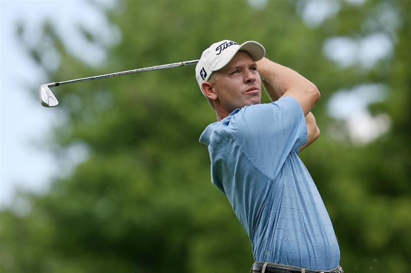 COLUMBUS, OH - AUGUST 02 : Derek Lamely hits his tee shot on the 17th hole during the final round of the Nationwide Children's Hospital Invitational at The Ohio State Golf Club on August 2, 2009 in Columbus, Ohio. (Photo by Hunter Martin/Getty Images)