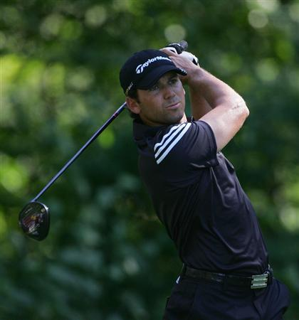 NORTON, MA - SEPTEMBER 01:  Sergio Garcia of Spain hits his drive on the ninth hole during the final  round of the Deutsche Bank Championship at TPC of Boston held on September 1, 2008 in Norton, Massachusetts.  (Photo by Michael Cohen/Getty Images)