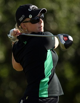 REUNION, FLORIDA - APRIL 17:  Morgan Pressel hits her tee shot on the third hole during the first round of the Ginn Open at Reunion Resort April 17, 2008 in Reunion, Florida.  (Photo by Scott Halleran/Getty Images)