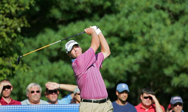 NORTON, MA - SEPTEMBER 07:  Steve Stricker plays his tee shot on the 11th hole during the final round of the Deutsche Bank Championship at TPC Boston held on September 7, 2009 in Norton, Massachusetts.  (Photo by Michael Cohen/Getty Images)