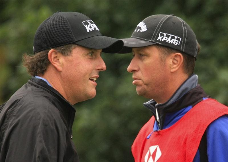 SHANGHAI, CHINA - NOVEMBER 10:  Phil Mickelson of the USA waits with his caddie Jim Mackay on the sixth hole during the final round of the HSBC Champions at Sheshan Golf Club on November 10, 2008 in Shanghai, China.  (Photo by Scott Halleran/Getty Images)