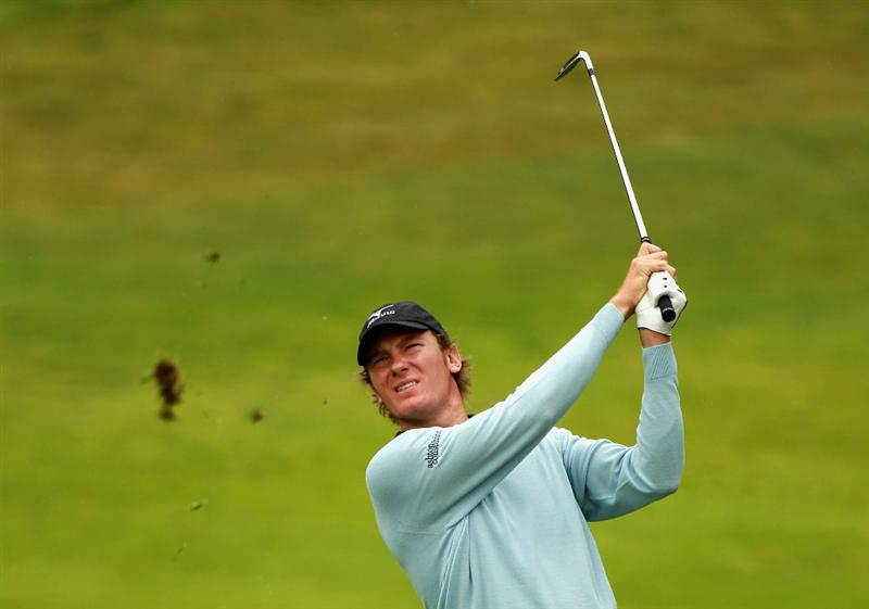 ESTORIL, PORTUGAL - JUNE 09:  Chris Wood of England plays his second shot into the third green during the Pro-am of the Estoril Open de Portugal at Penha Longa Golf Club on June 9, 2010 in Estoril, Portugal.  (Photo by Warren Little/Getty Images)