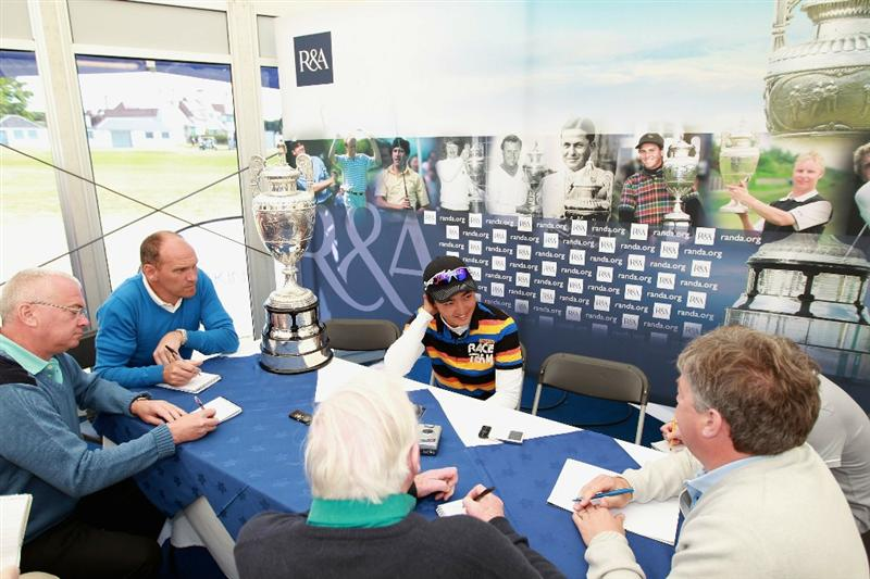 GULLANE, SCOTLAND - JUNE 19:  Jin Jeong of South Korea attends a press conference after beating James Byrne of Scotland 5&4 to win The Amateur Championship at Muirfield Golf Club on June 19, 2010 in Gullane, Scotland.  (Photo by Warren Little/Getty Images)