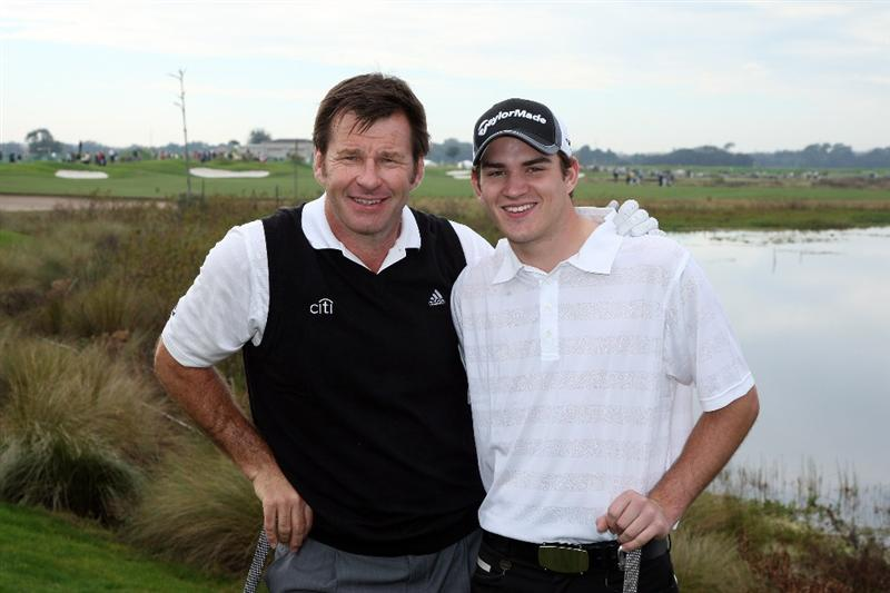 CHAMPIONS GATE, FL - DECEMBER 06:  Nick Faldo of England with his son Matthew Faldo on the 1st hole during the first round of the Del Webb Father Son Challenge on the International Course at Champions Gate Golf Club on December 6, 2008 in Champions Gate, Florida.  (Photo by David Cannon/Getty Images)
