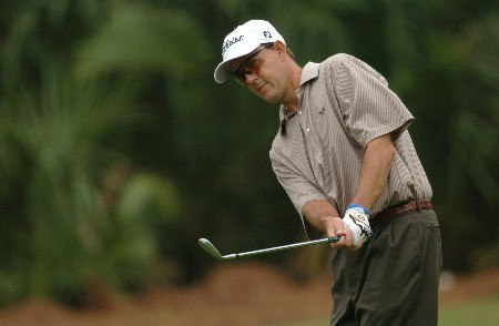 Stephen Leaney during practice for THE PLAYERS championship at the Tournament Players Club at Sawgrass in Ponte Vedra Beach, Florida on March 22, 2005.