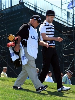LA JOLLA, CA - JUNE 06:  Justin Timberlake walks off the first tee with his caddie Butch Harmon during the Golf Digest U.S. Open Challenge at the Torrey Pines Golf Course on June 6, 2008 in La Jolla, California.  (Photo by Scott Halleran/Getty Images)