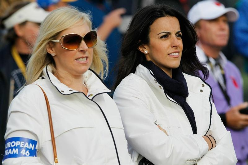 NEWPORT, WALES - OCTOBER 02:   Caroline Harrington (L) and Diane Donald watch their husbands in action during the rescheduled Morning Fourball Matches during the 2010 Ryder Cup at the Celtic Manor Resort on October 2, 2010 in Newport, Wales. (Photo by Sam Greenwood/Getty Images)