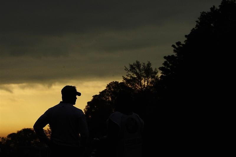 VIRGINIA WATER, ENGLAND - MAY 20:  Peter Hedblom of Sweden prepares to play his tee shot at the 1st hole during the first round of the BMW PGA Championship on the West Course at Wentworth on May 20, 2010 in Virginia Water, England.  (Photo by Ian Walton/Getty Images)
