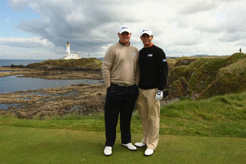 TURNBERRY, SCOTLAND - JULY 14:  Elliot Saltman (L) and Lloyd Saltman of Scotland pose on the 9th tee during a practice round prior to the 138th Open Championship on the Ailsa Course, Turnberry Golf Club on July 14, 2009 in Turnberry, Scotland.  (Photo by Richard Heathcote/Getty Images)