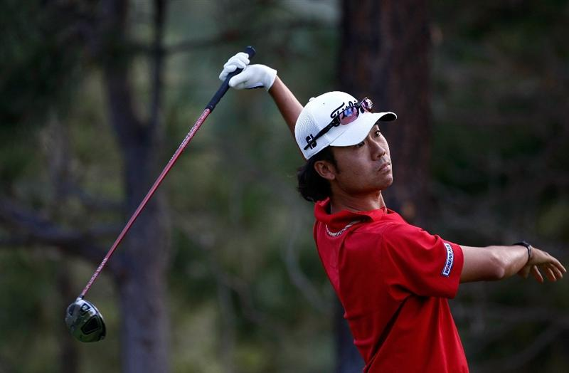 RENO, NV - AUGUST 09:  Kevin Na tees off on the 17th hole during the final round of the Legends Reno-Tahoe Open on August 9, 2009 at Montreux Golf and Country Club in Reno, Nevada.  (Photo by Jonathan Ferrey/Getty Images)