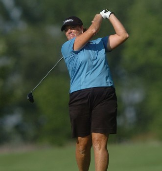 Meg Mallon in action during the first round of the LPGA's Wendy's Championship For Children at Tartan Fields Golf Club in Dublin, Ohio August 25, 2005.Photo by Steve Grayson/WireImage.com