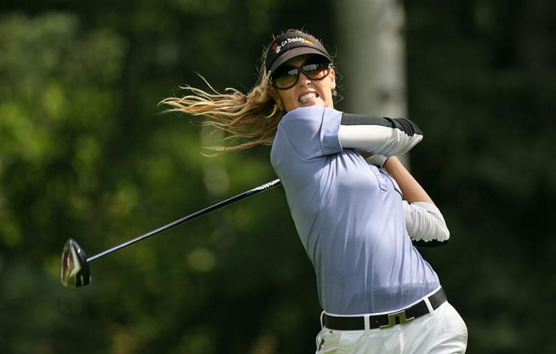 CALGARY, AB - SEPTEMBER 05 : Anna Rawson of Australia hits her tee shot on the ninth hole during the third round of the Canadian Women's Open at Priddis Greens Golf & Country Club on September 5, 2009 in Calgary, Alberta, Canada. (Photo by Hunter Martin/Getty Images)
