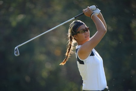 Jennifer Rosales tees off on the par-three, 17th hole  during the first round of the 2005 Mitchell Company Tournament of Champions November 10 in Mobile.Photo by Al Messerschmidt/WireImage.com