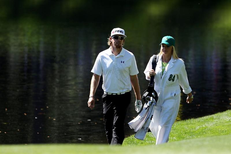 AUGUSTA, GA - APRIL 06:  Hunter Mahan walks with his wife Kandi during the Par 3 Contest prior to the 2011 Masters Tournament at Augusta National Golf Club on April 6, 2011 in Augusta, Georgia.  (Photo by Andrew Redington/Getty Images)