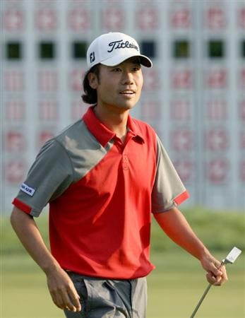 NORTON, MA - SEPTEMBER 7:  Kevin Na smiles after he finished the final round of the the Deutsche Bank Championship held at TPC Boston on September 7, 2009 in Norton, Massachusetts. (Photo by Jim Rogash/Getty Images)
