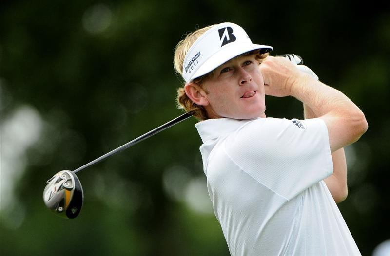 ST. LOUIS - SEPTEMBER 5:  Brandt Snedeker tees off the 10th hole  during the rain delayed first round of the BMW Championship held at Bellerive Country Club on September 5, 2008 in St. Louis, Missouri.  (Photo by Marc Feldman/Getty Images)