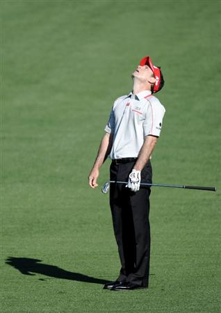 AUGUSTA, GA - APRIL 07:  Mark Wilson reacts to his approach shot on the second hole during the first round of the 2011 Masters Tournament at Augusta National Golf Club on April 7, 2011 in Augusta, Georgia.  (Photo by Harry How/Getty Images)