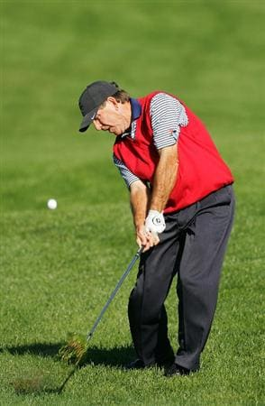 TIMONIUM, MD - OCTOBER 10:  Gil Morgan plays a shot from the rough during the second round of the Constellation Energy Senior Players Championship at Baltimore Country Club East Course held on October 10, 2008 in Timonium, Maryland  (Photo by Michael Cohen/Getty Images)