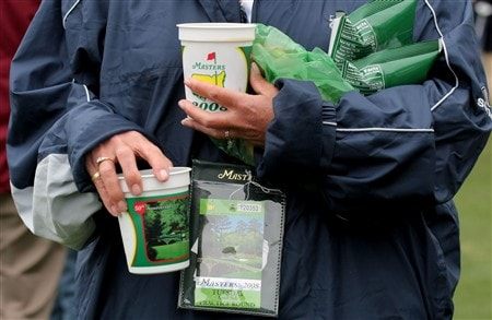 AUGUSTA, GA - APRIL 08:  A patron carries refreshments during the second day of practice prior to the start of the 2008 Masters Tournament at Augusta National Golf Club on April 8, 2008 in Augusta, Georgia.  (Photo by Harry How/Getty Images)