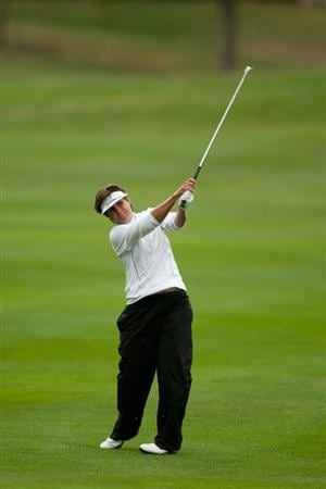 DANVILLE, CA - OCTOBER 17: Michele Redman follows through on an approach shot during the final round of the CVS/Pharmacy LPGA Challenge at Blackhawk Country Club on October 16, 2010 in Danville, California. (Photo by Darren Carroll/Getty Images)