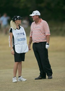 Mark Calcavecchia with his wife and caddie Brenda during the second round of the 135th Open Championship at Royal Liverpool Golf Club in Hoylake, Great Britain on July 21, 2006.Photo by Sam Greenwood/WireImage.com