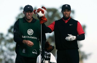 Tiger Woods pulls his driver from his bag as caddie Steve Williams watches on the second hole during the final round of the Buick Invitational at the Torrey Pines Golf Course on January 27, 2008 in La Jolla, California. PGA TOUR - 2008 Buick Invitational - Final RoundPhoto by Jeff Gross/Getty Images