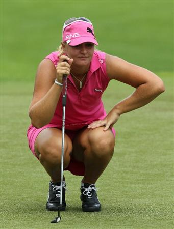 KUALA LUMPUR, MALAYSIA - OCTOBER 24 : Anna Nordqvist of Sweden lines up for a putt on the 11th hole during the Final Round of the Sime Darby LPGA on October 24, 2010 at the Kuala Lumpur Golf and Country Club in Kuala Lumpur, Malaysia. (Photo by Stanley Chou/Getty Images)