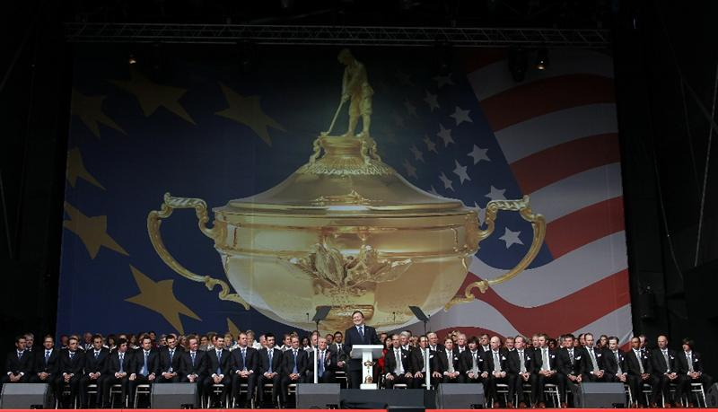 NEWPORT, WALES - SEPTEMBER 30:  General view of the Europe and USA teams during the Opening Ceremony prior to the 2010 Ryder Cup at the Celtic Manor Resort on September 30, 2010 in Newport, Wales.  (Photo by Ross Kinnaird/Getty Images)