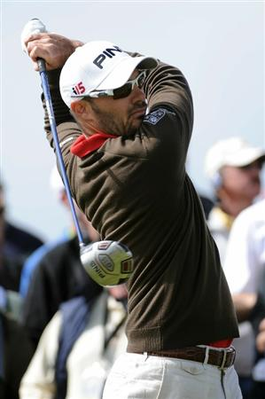 PEBBLE BEACH, CA - JUNE 19:  Gregory Havret of France watches a tee shot on the ninth hole during the third round of the 110th U.S. Open at Pebble Beach Golf Links on June 19, 2010 in Pebble Beach, California.  (Photo by Harry How/Getty Images)