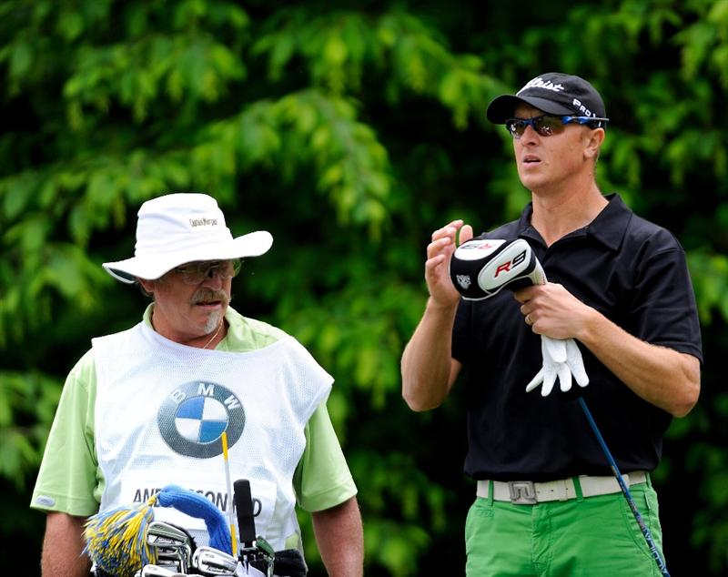 TURIN, ITALY - MAY 08:  Fredrik Andersson Hed of Sweden and caddie on the 11th hole during the third round of the BMW Italian Open at Royal Park I Roveri on May 8, 2010 in Turin, Italy.  (Photo by Stuart Franklin/Getty Images)