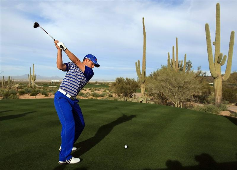 MARANA, AZ - FEBRUARY 23:  Sergio Garcia of Spain hits a shot during a practice round prior to the start of the Accenture Match Play Championship at the Ritz-Carlton Golf Club at Dove Mountain on June 6, 2009 in Marana, Arizona.  (Photo by Scott Halleran/Getty Images)