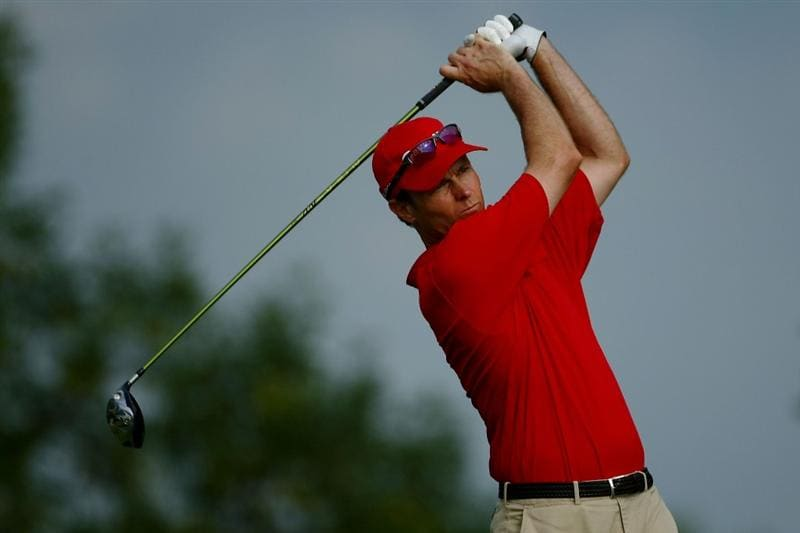 OAKVILLE, ONTARIO - JULY 26: Bob Estes plays off the third tee during round three of the RBC Canadian Open at Glen Abbey Golf Club on July 26, 2009 in Oakville, Ontario, Canada.  (Photo by Chris McGrath/Getty Images)