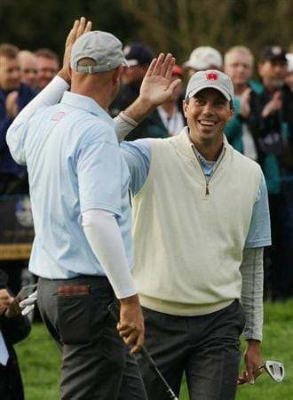 NEWPORT, WALES - OCTOBER 01:  Stewart Cink (L) of the USA celebrates with Matt Kuchar on the 7th hole during the Morning Fourball Matches during the 2010 Ryder Cup at the Celtic Manor Resort on October 1, 2010 in Newport, Wales.  (Photo by Andrew Redington/Getty Images)