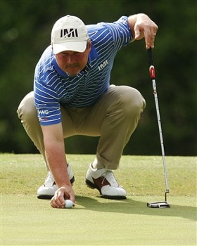 DULUTH, GA - MAY 18:   Jim McGovern lines up a putt on the first hole during the final round of the AT&T Classic at TPC Sugarloaf on May 18, 2008 in Duluth, Georgia.  (Photo by Kyle Auclair/Getty Images)
