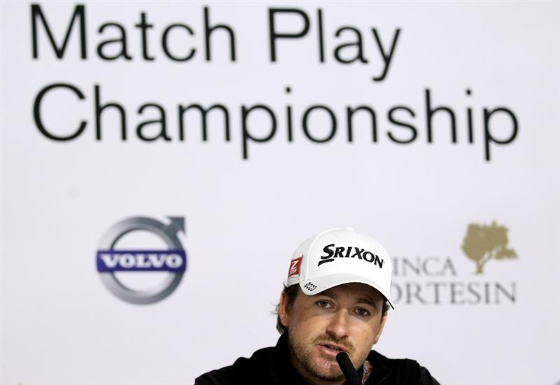 CASARES, SPAIN - MAY 17:  Graeme McDowell of Northern Ireland addresses a press conference ahead of the Volvo World Match Play Championship at Finca Cortesin on May 17, 2011 in Casares, Spain.  (Photo by Warren Little/Getty Images)