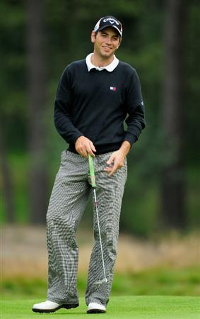 HILVERSUM, NETHERLANDS - SEPTEMBER 09:  Nick Dougherty of England looks happy during the first round of  The KLM Open Golf at The Hillversumsche Golf Club on September 9, 2010 in Hilversum, Netherlands  (Photo by Stuart Franklin/Getty Images)