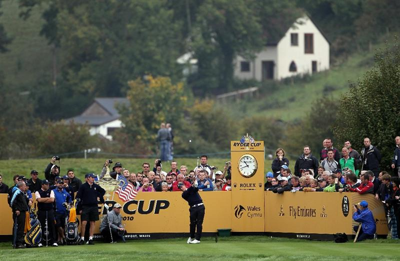 NEWPORT, WALES - SEPTEMBER 30:  Luke Donald of Europe tees off during a practice round prior to the 2010 Ryder Cup at the Celtic Manor Resort on September 30, 2010 in Newport, Wales.  (Photo by Jamie Squire/Getty Images)