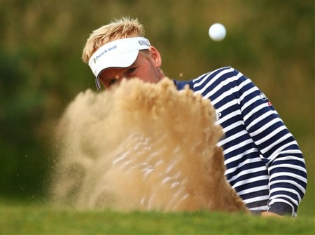 SOUTHPORT, UNITED KINGDOM - JULY 16:  Soren Kjeldsen of Denmark hits out of a bunker during the third practice round of the 137th Open Championship on July 16, 2008 at Royal Birkdale Golf Club, Southport, England. (Photo by Richard Heathcote/Getty Images)