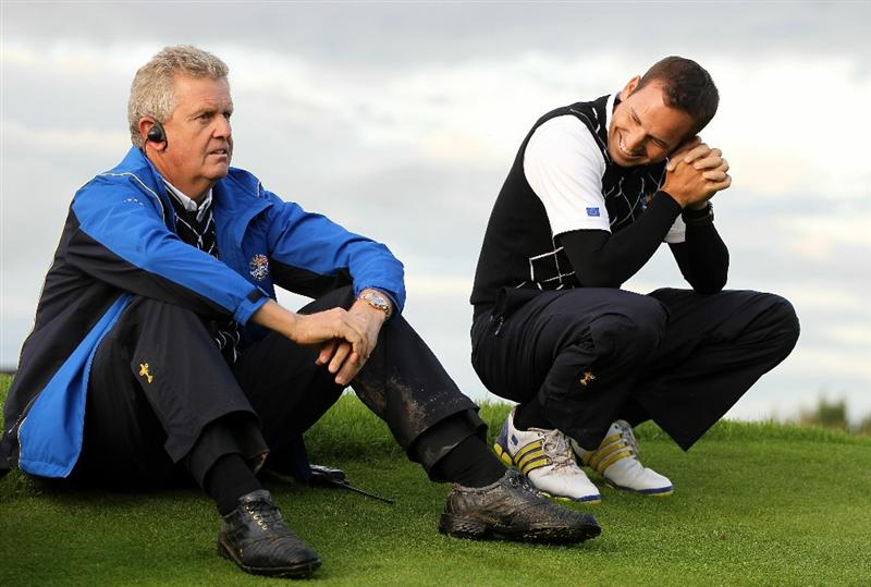 NEWPORT, WALES - OCTOBER 03:  Europe Captain Colin Montgomerie (L) sits with Vice Captain Sergio Garcia during the  Fourball & Foursome Matches during the 2010 Ryder Cup at the Celtic Manor Resort on October 3, 2010 in Newport, Wales.  (Photo by Jamie Squire/Getty Images)