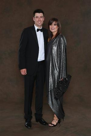 NEWPORT, WALES - SEPTEMBER 29:  Ross Fisher of the European Ryder Cup team poses with his wife Jo prior to the 2010 Ryder Cup Dinner at the Celtic Manor Resort on September 29, 2010 in Newport, Wales.  (Photo by David Cannon/Getty Images)