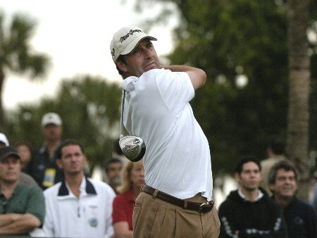 Jose Maria Olazabal drives from the 18th tee during second-round competition March 4, 2005  at the Ford Championship at Doral in Miami.  Olazabla shot a 69 to finish 11 under par in third place.