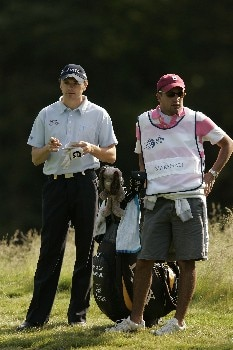 Andrew marshall waits to play during the first round of the 2005 KLM Open at Hilversumsche Golf Club. June 9, 2005Photo by Pete Fontaine/WireImage.com